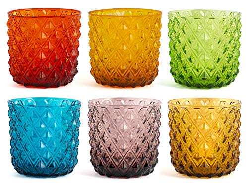 H&H 835452 Murano Set 6 Bicchieri, Vetro, Colori Assortiti, cl30