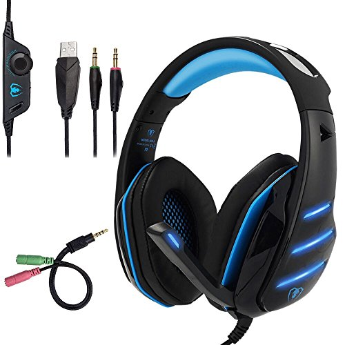 Beexcellent GM-3 Pro Wired Gaming Headset avec Micro, LED et contrôle du Volume Stereo Over-Ear Bass Noise Canceling, pour PS4 Xbox One, Ordinateur Portable, PC(Bleu)