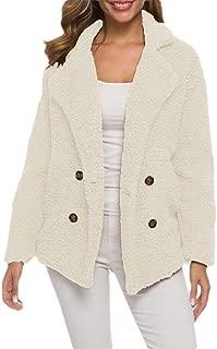 Howely Women Double-Breasted Faux Fur Thick Fleece Fall Winter Coat Jacket