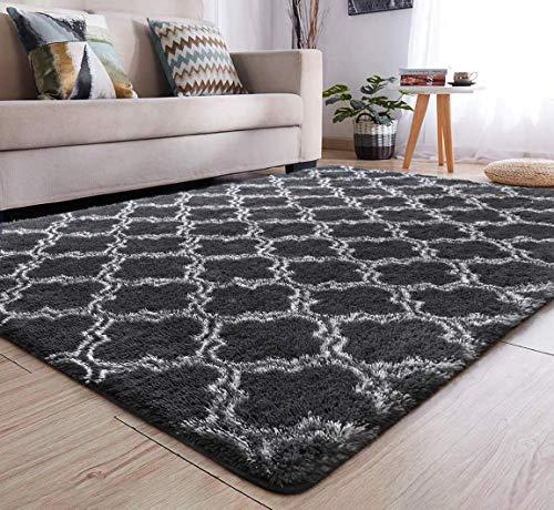 Tinyboy-hbq Area Rug Soft Living Room Carpet Plush Pile Rug Fluffy Rugs Anti Slip Fluffy Bedroom Rug Shaggy Floor Mats Large for Hallway Bedroom(Grey, 160 * 200cm)