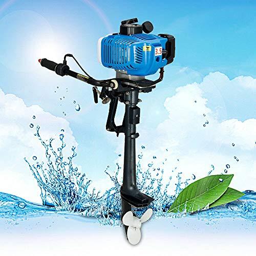 Yonrux 2-takt buitenboordmotor benzinemotor 3,5 pk buitenboordmotor luchtkoeling elektromotor benzinemotor 2,5 kW bootmotor voor opblaasbare boten 10 km /h 10 km / h blauw
