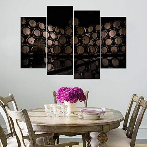 IOIP Cuadro En Lienzo 4 Piezas Impresiones sobre Lienzo Barriles de Vino ImpresióN HD Pintura 4 Piezas Modernos Salón Decoracion Murales Pared Lona XXL Hogar Dormitorios Decor