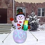 panthem Muñeco de nieve inflable de 150 cm con luces LED giratorias, iluminación y ventilador, Papá ...