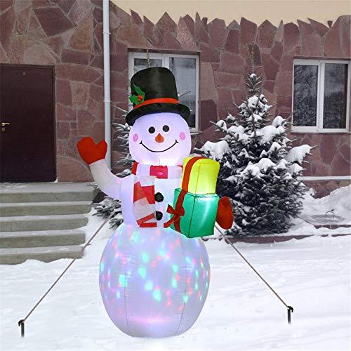 panthem Muñeco de nieve inflable de 150 cm con luces LED giratorias, iluminación y ventilador, Papá Noel, iluminación de Navidad, decoración de jardín, patio, salón, balcón, exterior