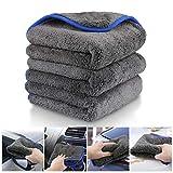 Fixget Auto Mikrofasertuch, 3er Set Auto Trockentücher Wasch Microfaser Handtuch Reinigungstücher für Auto waschen & Polieren 40x40cm, 1200GSM