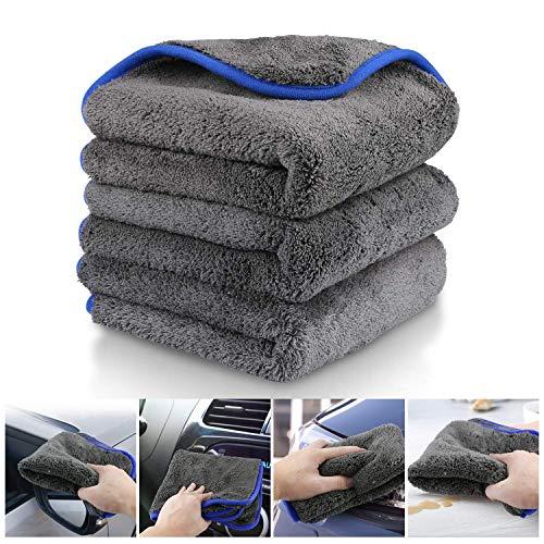 Fixget Auto Trockentuch, 3er Set Auto Wasch Microfaser Trockentücher Handtuch Trocknen Reinigungstücher perfekt für Auto waschen & Lackieren-40x40cm, 1200GSM