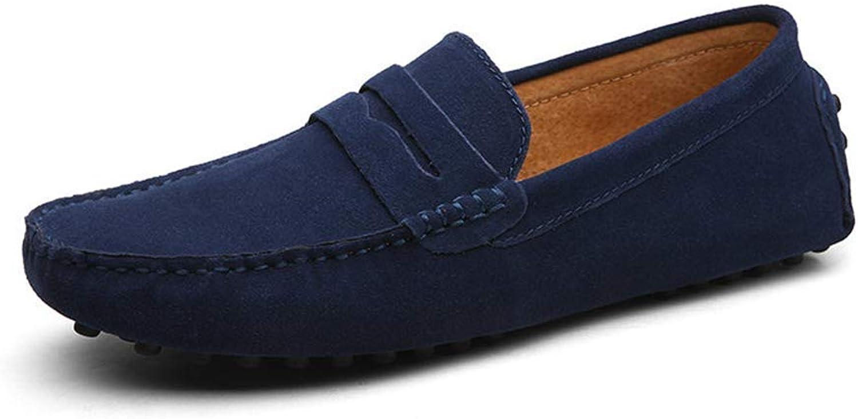 ZHRUI Männer Müßiggänger Echtes Leder Schuhe Mode Mode Mode Sommer Stil Weiche Mokassins Wohnungen Driving Schuhe (Farbe   Dunkelblau, Größe   7 UK)  eb347b