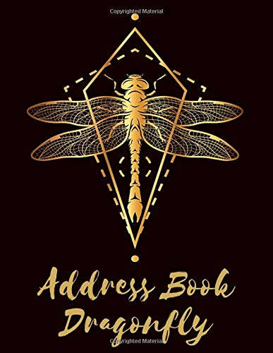 Address Book Dragonfly: Large Print Black Home Telephone Address Book for Seniors & Women - Brilliant Alphabetical Notebook Organizer for Contacts, Addresses, Phone Numbers, Emails & Birthdays