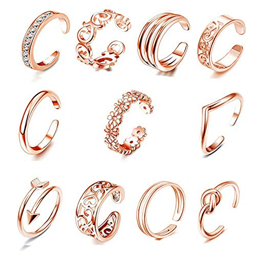 FIBO STEEL 12 Pcs Open Toe Rings for Women Girls Vintage Retro Wave Flower Celtic Knot Arrow Tail Band Toe Ring Adjustable Rose Gold-tone