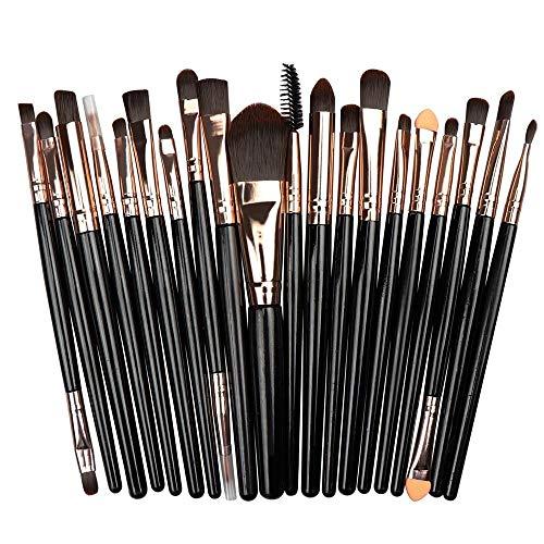 Ensemble de pinceaux de maquillage Fanxp® 20 pièces Ensemble de pinceaux cosmétiques durables et multifonctionnels - noir et café