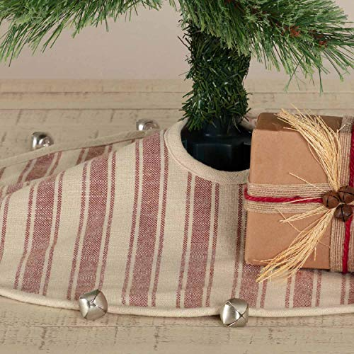 Piper Classics Sleigh Bells Ring Ticking Stripe Mini Tree Skirt, 21' Round, Farmhouse Christmas Red & Cream w/Bells, Christmas, Country Holiday Décor