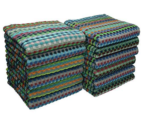 Betz 12er Pack Arbeitshandtücher Set Grubentuch Arbeitshandtuch 100% Baumwolle Größe ca. 50 x 90 cm gewürfelte Optik bunt
