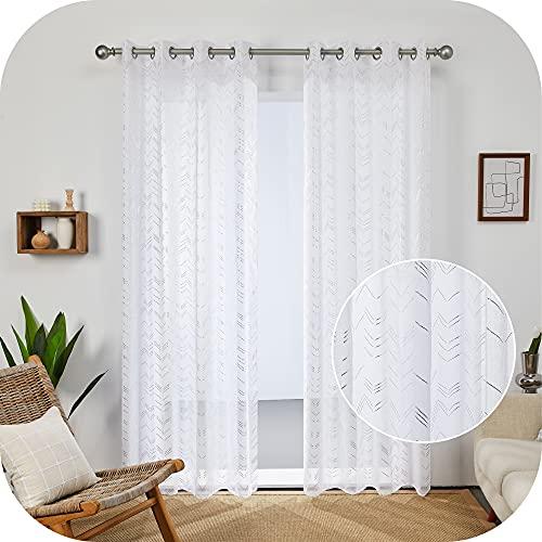 Amazon Brand - Umi Cortinas Habitacion Salon Visillos Translucidas Ventana Dormitorios 2 Piezas Blancas 140x240cm