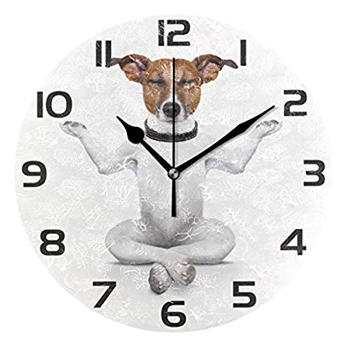 Mr.XZY Yoga Dog Wall Clock for Bathroom Cute Animal Interesting Pattern 9.5 inch Round Wall Clock Acrylic Silent Non-Ticking for Living Room Kitchen Bedroom 2010696