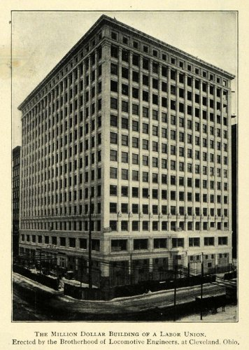1911 Print Locomotive Engineers Building Cleveland Ohio - Original Halftone Print