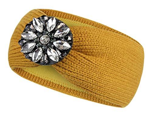 Frentree Damen Stirnband mit Strass Steinen, gestricktes Mädchen Haarband mit warmem Fleece Innenfutter Ohrenwärmer, SB1021