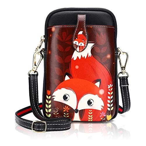 Damen Kleine Umhängetasche PU Leder Geldbörse Crossbody Handy Mini-Tasche Mode Cartoon Frauen Schultertaschen mit Reißverschluss (3-0013)