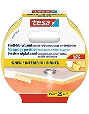 tesa 56270-00000-00 56270 schilder crêpe Precision Indoor afdekband, 25 mm x 25 m, geel, 25 m x 25 mm