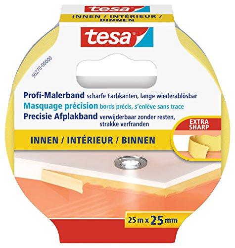 tesa Profi-Malerband INNEN - Dünnes Abdeckband für extrem präzises Abkleben bei Malerarbeiten, lösungsmittelfrei - 25 m : 25mm