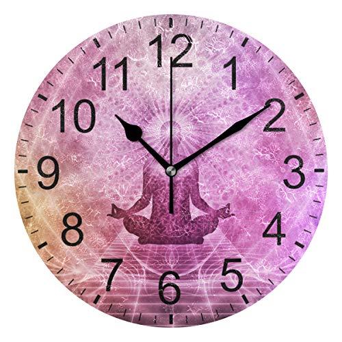 SENNSEE Meditations-Yoga-Wanduhr, abstrakte Wanduhr, dekoratives Wohnzimmer, Schlafzimmer, Küche, batteriebetrieben, runde Uhr für Heimdekoration, Kunst