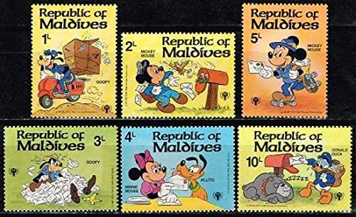 ディズニーミニセット(21) ミッキーの郵便屋さん6種(モルディブ) 国際児童年・犬・鳥