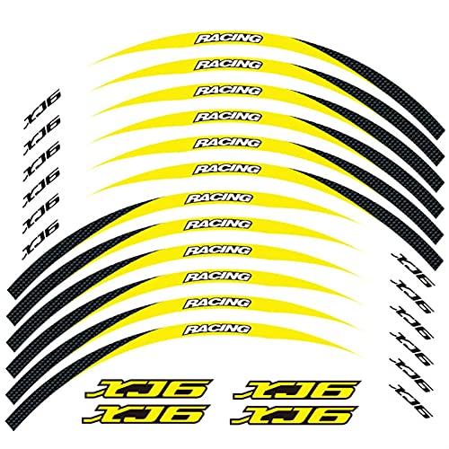 Motorradfront- und Hinterkante Außenrand-Aufkleber 17inch-Rad reflektierende wasserdichte Abziehbilder für Yamaha XJ6 (Color : Yellow)