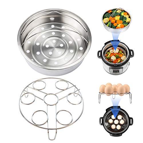 Vindar 2 Pack Steamer Basket, Steam Baskets Rack Set, Vegetable Steam Insert Pans, Egg Steaming Holder Rack Stand, Fits for 5,6,8qt 5/6Litre Pressure Cooker, Stainless Steel, Diameter 21CM