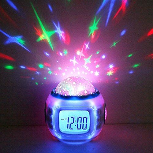 Winnes Despertador Infantil,LED Reloj Despertador Digital con Calendario Termómetro, Hora y Semana,Posponer,Música,Fondo Luz Nocturna,Proyector Estrellas para Ninos niña
