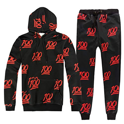 Men's Fashion Jogging Tracksuit Letter Print Sportswear Casual Joggers Sets Hoodie Sweatshirt+Sweatpants Outfits by-Leegor Black