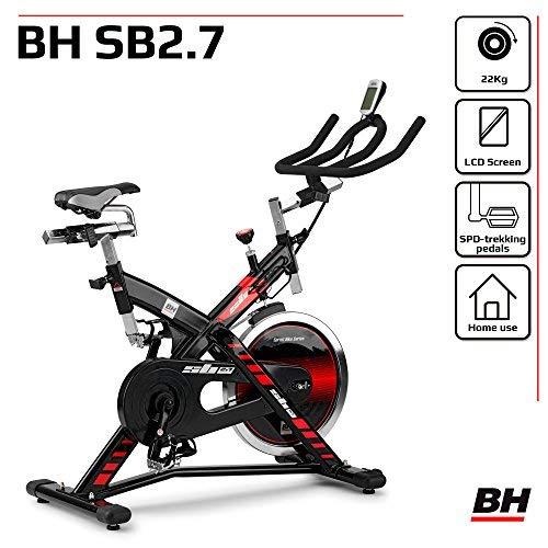 Bicicleta ciclo indoor BH Fitness SB 2.7 H9174F, volante inercia de 22 kg, transmision por correa y monitor LCD ✅