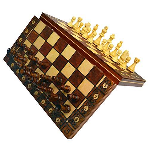 Magnetische Schachspiele, 3 in 1 Holzfalten Checkers Schachspiele Dame Backgammon, Klappschachbrett aus Holz mit handgefertigten Stücken, Schachbrett Schach Eltern-Kind-Spielzeug, Reiseschachspiele