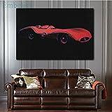 baodanla Rahmenloses Ölgemälde großer roter Sportwagen von Andy Warhol Wohnkultur arbeitet Gemälde in 50x70cm