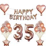 Oumezon 35 cumpleaños niña decoración Rose Gold, 35 cumpleaños decoración para niñas jóvenes Happy Birthday Guirnalda Banner Folienballon Konfetti Globos Deko cumpleaños Party número de Globos