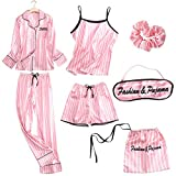 YPDM White Sweet Women Pyjamas Set 7PCS Sleepwear Casual Satin Pijamas Suit Suspender Sleep Set Homewear Soft Shirt & amp; Pant XXL, Style 1, 7pcs, XXL