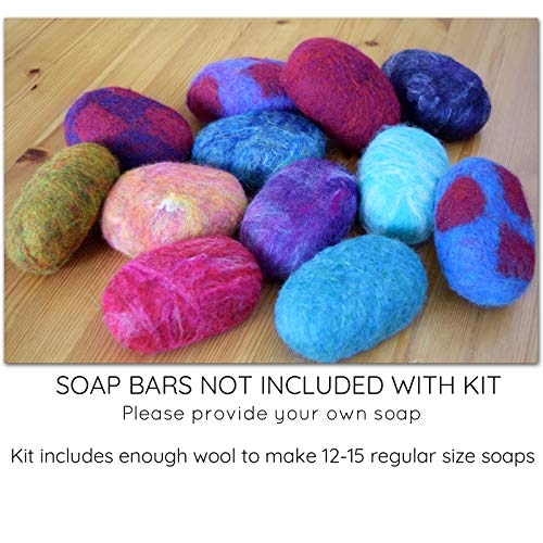SOAP FELTING KIT: Make Your Own Felted Soap. Kit Includes Wool & Written Instructions. Creative Kids Craft, Gift Idea, Bathroom Décor, Natural Exfoliant.