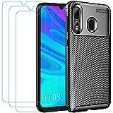 iVoler Funda para Huawei P Smart Plus 2019 / Honor 20e / Honor 20 Lite, con 3 Unidades Cristal Templado, Fibra de Carbono Carcasa Protectora Antigolpes Negro, Suave TPU Silicona Caso Anti-Choques Case