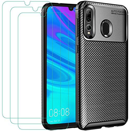 ivoler Funda para Huawei P Smart 2019 / P Smart Plus 2019 / Honor 20e / Honor 20 Lite / 10 Lite + 3X Cristal Templado Protector de Pantalla, Fibra de Carbono Negro TPU Suave de Silicona Carcas
