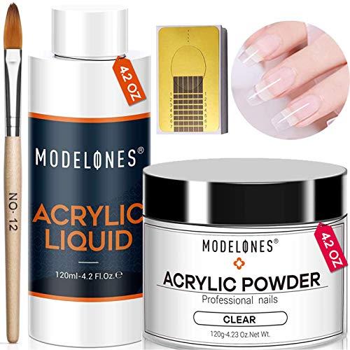 Modelones Professional 4.2oz Big Capacity Acrylic Powder Kit Set 4.2oz Clear Acrylic Powder 4.2oz Monomer Liquid Acrylic Nail Forms 50pcs Acrylic Nail Brush No Nail Lamp Needed