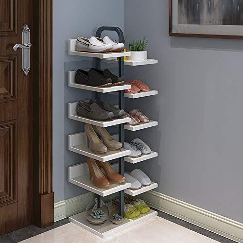 Baiyun Flyin Schuhschrank Aus Stahl Und Holz Eck-Schuhschrank Mit Einfacher Tür 6-lagiger Vertikaler Blumentopfhalter Kann 12 Paar Schuhe Aufnehmen (Color : White)