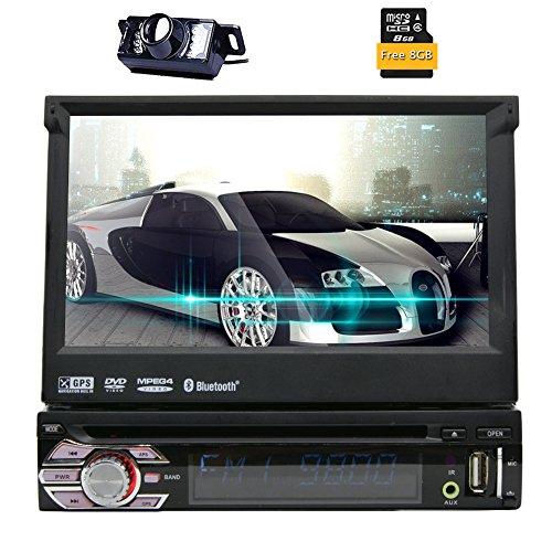 Eincar 1-DIN-Autoradio mit 7 Zoll LCD-Touch Screen 800 * 480 HD GPS Autoradio DVD / CD / USB / AUX-IN / MP3 / iPod Bluetooth-Radio mit kostenloser Karten-Karte + Backup-Kamera