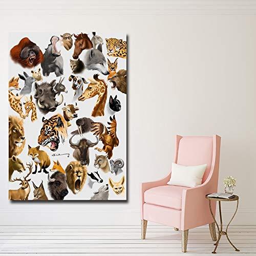 YuanMinglu HD-Bild Tierdruck Leinwand Kunstdruck Poster Verschiedene Tierwand Kinderzimmer Wohnzimmer Wanddekoration rahmenlose Malerei 90X120CM