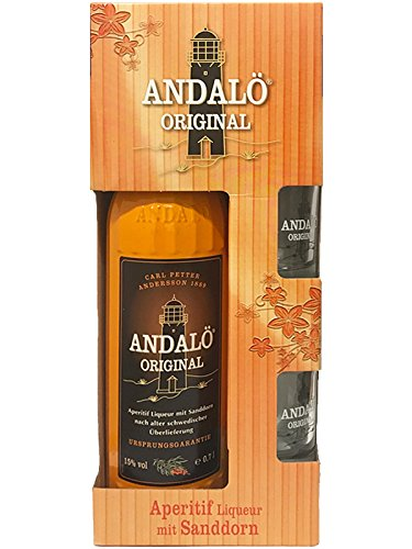 ANDALÖ Original feiner Likör mit Sanddorn 0,7 Liter in GP mit 2 Gläsern
