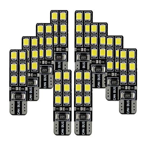 2-Pack T10 194 168 921 600Lums Ambra 12-SMD 3030 Chipset Car Replacement Bulb Per 168 2825 Backup Reverse Side Marker Light Giallo Estremamente Luminoso Senza Polarit/à Canbus Error Free LED 12V-18V