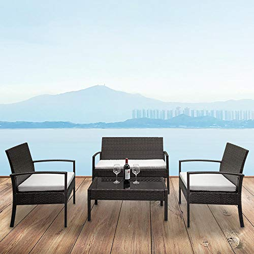 TATUNER 2pcs Arm Chairs 1pc Love Seat & Tempered Glass Coffee Table Rattan Sofa Set Brown Gradient