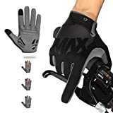 NICEWIN Full Finger Cycling Gloves for Men, Breathable Fabric Wear-Resistant Suede Shock Absorbent Gel Pad, Suitable for Riding Mountain Bike Motorcycle in Autumn Winter Black M