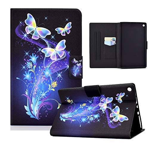 zl one Compatible con/Reemplazo para Tablet PC Kindle Fire HD 10 (9ª, 7ª y 5ª generación, 2019/2017/2015) PU Funda de piel sintética con función atril (mariposas flores)