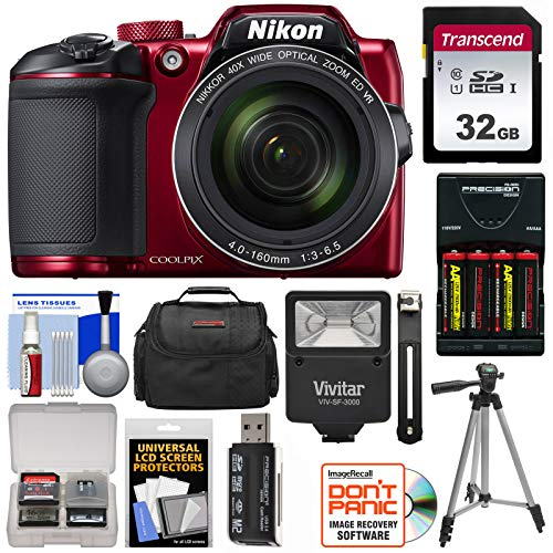 Nikon Coolpix B500 Wi-Fi Digital Camera (Red) with 32GB Card + Batteries & Charger + Case + Tripod + Flash Kit (Renewed)