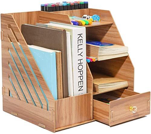 XUECHRN Organizador de escritorio Gabinete de almacenamiento estacionario de madera DIY de madera con 2 secciones de soporte de archivos A4, 5 compartimentos y 1 cajón para hogar, oficina y escuela-30