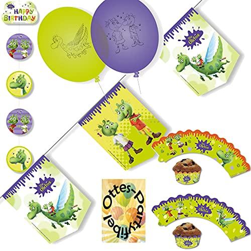 HHO Die Olchis-Party-Set Olchi-Party-Set Dekoration2 : Wimpelkette Deckenhänger Luftballons Muffin-Deko-Banderolen