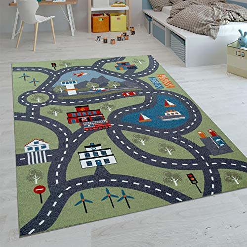 Paco Home Kinder-Teppiche, Kurzflor-Teppiche für Kinderzimmer mit vers. Designs Spielteppiche Bunt, Grösse:140x200 cm, Farbe:Grün 2